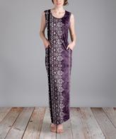 Aster Purple Geometric Pocket Maxi Dress