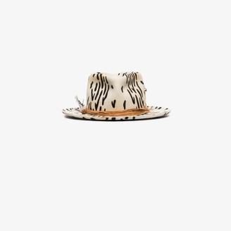 Nick Fouquet Womens Black And White Zeal Zebra Print Wool Felt Hat