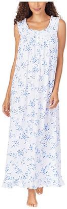 Eileen West Cotton Sleeveless Ballet Nightgown (Blue Print) Women's Pajama