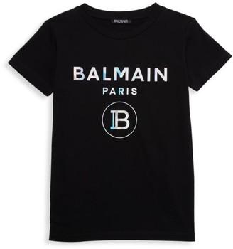 Balmain Little Kid's & Kid's Holographic Logo T-Shirt