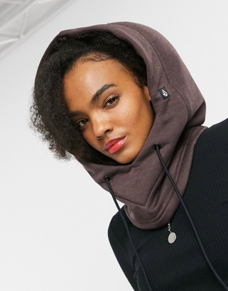 Volcom Dang Polartec hooded scarf in burgundy
