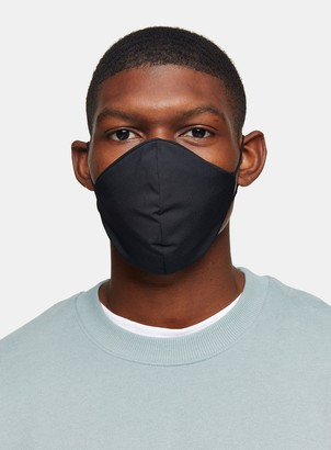 Topman 2 Pack Black Monogram Print and Black Fashion Face Mask*