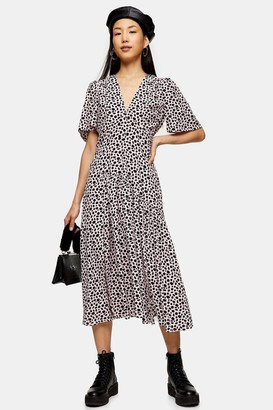 Topshop Pink Leopard Print Angel Sleeve Midi Dress