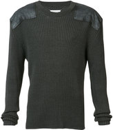 Maison Margiela Rib pullover with shoulder patches - men - Cotton/Wool - M