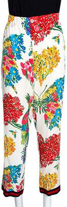 Gucci Multicolor Corsage Printed Silk Pajama Pants M