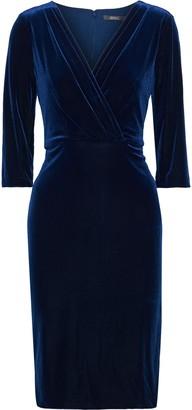 Badgley Mischka Wrap-effect Velvet Dress