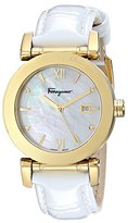 Salvatore Ferragamo Women's FP1990014 Salvatore Diamond-Accented Gold Ion-Plated Watch with Patent Leather Band