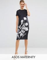 Asos Mono Floral Scuba T-Shirt Midi Bodycon Dress