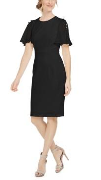 Calvin Klein Chiffon-Sleeve Sheath Dress