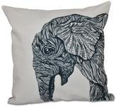16 in. x 16 in. El Elefante Animal Print Pillow in Black