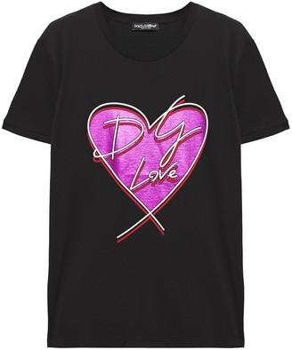 Dolce & Gabbana Metallic Printed Cotton-jersey T-shirt