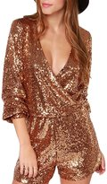 HaoDuoYi Womens Sequin V Neck Wrap Tunic Party Jumpsuit Romper(L,)