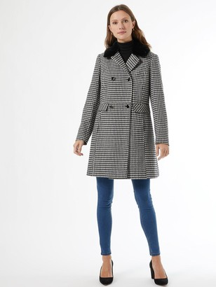 Dorothy Perkins Dolly Dogtooth Coat - Black