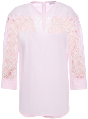 Sandro Erica Guipure Lace-trimmed Cotton-poplin Top