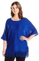 NY Collection Women's Plus-Size Elbow Dolman Sleeve Crew-Neck Fringed Pullover