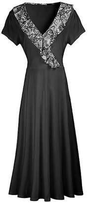 Lily Women's Maxi Dresses BLK - Black & White Abstract Ruffle-Trim Surplice Maxi Dress - Women & Plus
