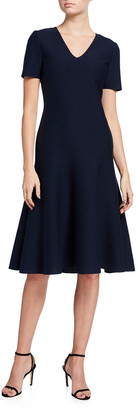 St. John Milano Knit V-Neck Short-Sleeve Dress