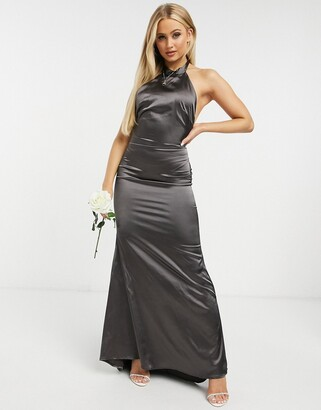 TFNC Bridesmaid satin halterneck fishtail maxi dress in grey