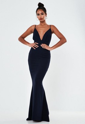 Missguided Navy Pleated Bust Fishtail Maxi Dress