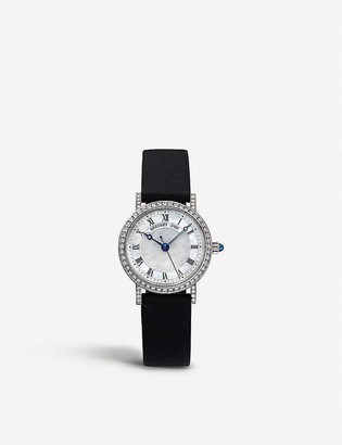 Breguet 8068BB/52/964/DD00 Classique 18ct white-gold, mother-of-pearl, diamond and leather watch
