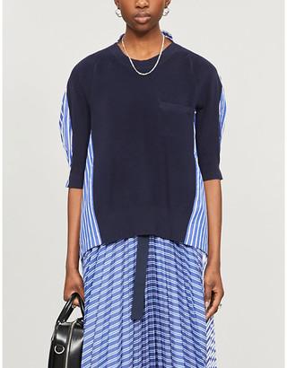 Sacai Shirt-detail cotton-knit jumper