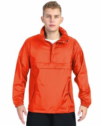 Outdoor Ventures Men's Lightweight Packable Pullover Hooded Rain Jacket Waterproof Windbreaker Raincoat Poncho Cycling Jacket