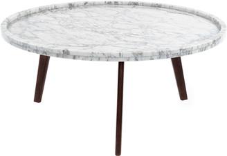 3.1 Phillip Lim Andmakers Cassara Round Italian Carrara White Marble Coffee Table with Walnut Legs