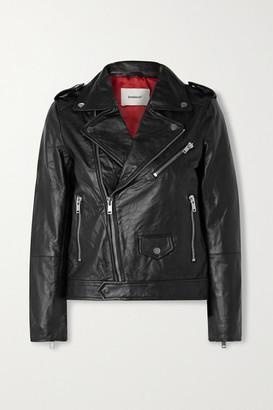 Deadwood Net Sustain River Leather Biker Jacket - Black