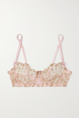 Coco de Mer Elizabeth Satin-trimmed Embroidered Tulle Underwired Soft-cup Bra - Pink