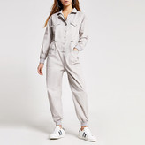 River Island Petite grey drawstring denim boiler jumpsuit