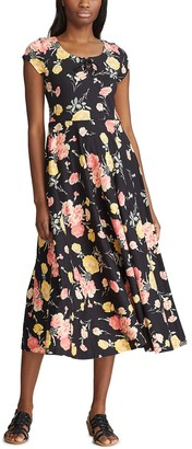 Chaps Women's Floral Pleated Midi Dress