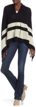 Portolano Contrast Color Stripe Cashmere Poncho