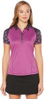 Pga Tour PGA TOUR Easy Care Short Sleeve Floral Mesh Polo Shirt