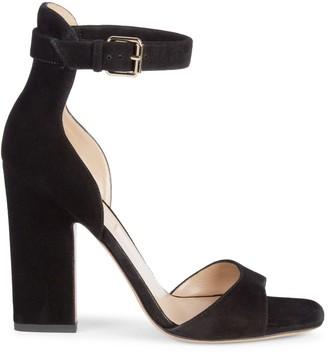 Valentino Stack Heel Suede Sandals