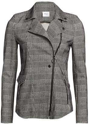 Akris Punto Flocked Glen Check Asymmetric Zip Jacket