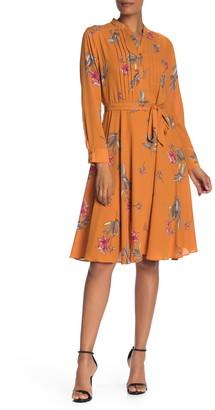 Nanette Lepore Floral Pintuck Long Sleeve Dress