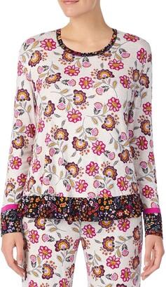 Kensie Oat Print Long Sleeve Ruffle Pajama Top