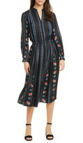 Tory Burch Floral Stripe Long Sleeve Silk Midi Dress