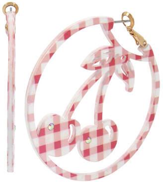 Betsey Johnson Summer Picnic Gingham Cherry Large Hoop Earrings