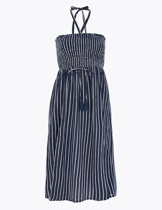 Marks and Spencer Pure Cotton Striped Midi Beach Dress
