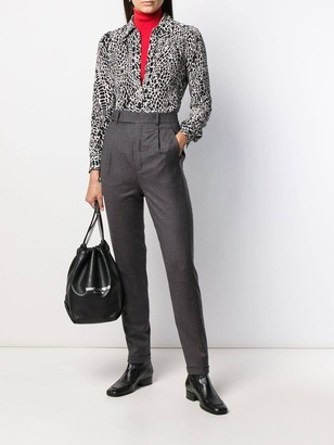 Saint Laurent Grey High-waisted Tapered Trousers