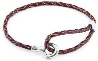 Anchor & Crew Deep Purple Blake Silver & Braided Leather Bracelet