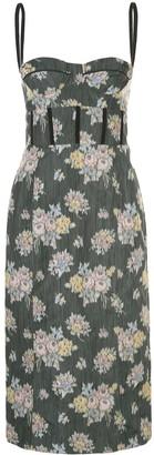 Brock Collection Floral Print Denim Midi Dress