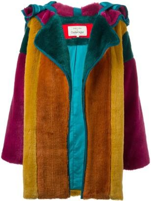 Jc De Castelbajac Pre Owned Colour Block Faux Fur Coat