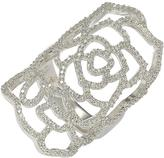Suzy Levian Sterling Silver White Cubic Zirconia Knuckle Flower Ring