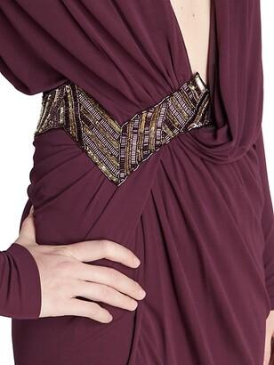 ZUHAIR MURAD Jersey Deep V-Neck Embroidered Gown
