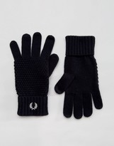 Fred Perry Pique Gloves In Lambswool