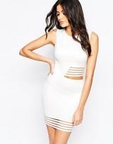 AX Paris Body-Conscious Dress with Stripe Mesh