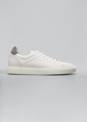 Brunello Cucinelli Men's Leather Cup-Sole Low-Top Sneakers