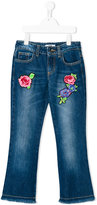 MSGM floral embroidered jeans